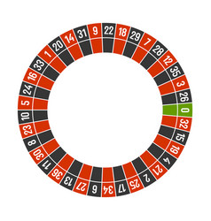 Roulette casino wheel template with zero on white vector