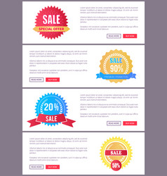 sale special offer round labels on web posters set vector image