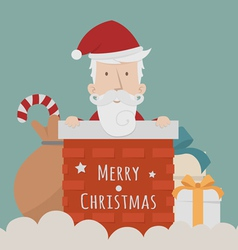 Santa Claus standing gift boxes vector