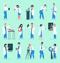 science characters lab people chemical scientist vector image