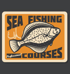 Sea fishing courses flounder vector