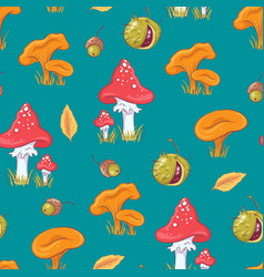 seamless pattern with autumn mushrooms vector image