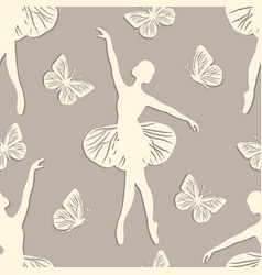 seamless pattern with dancing girl and butterflies vector image