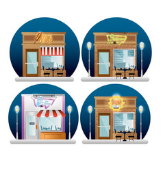 Set buildings facades with neon labels vector
