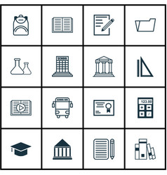 Set of 16 education icons includes taped book vector