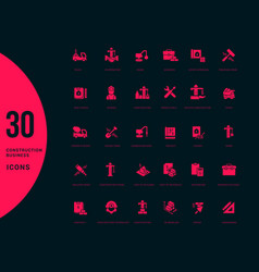 set simple icons construction business vector image