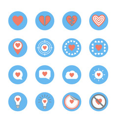 several style heart icons set vector image