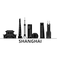 Shanghai architecture city skyline travel vector
