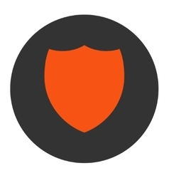Shield flat orange and gray colors round button vector