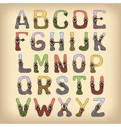 Sketch alphabet font colored vector
