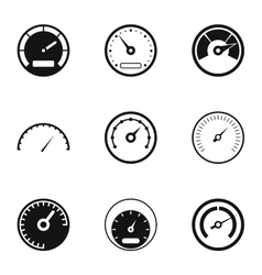 Speedometer for transport icons set simple style vector