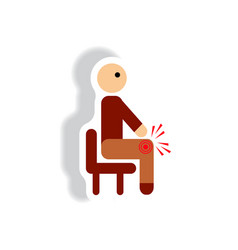 stylish icon in paper sticker style man knee pain vector image
