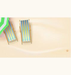 Summer sandy beach with sun umbrella and deck vector