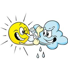 Sun and cloud cartoon fighting vector