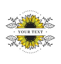 sunflower frame sunflower split monogram floral vector image