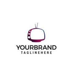 television multimedia logo design concept template vector image