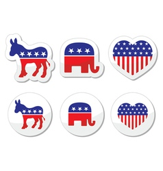 USA political symbols democrats and repbublicans vector image