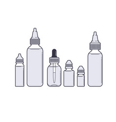 vaping set vape juices outline on white vector image