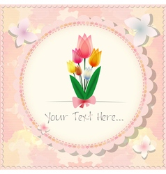 Vintage beautiful pink tulip card or background vector
