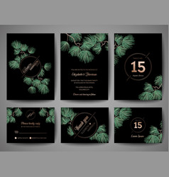 wedding monogram pine tree invitation card vector image