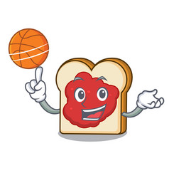 with basketball bread with jam character cartoon vector image