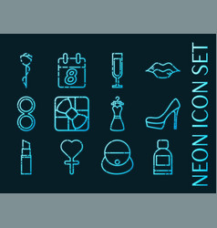 Womens day set icons blue glowing neon style vector