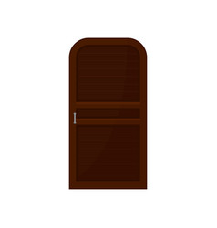 wooden door on white background interior and vector image