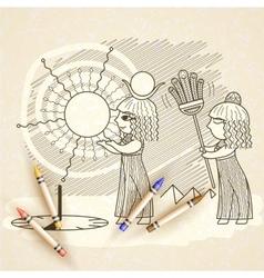 an Egyptian and a sundial vector image