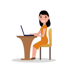 cartoon woman working at his laptop vector image