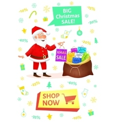 Christmas shopping banner with button shop now vector image vector image