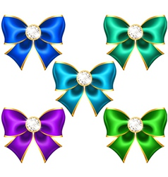 Festive bows with diamonds vector image vector image
