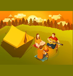 friends singing around campfire isometric vector image