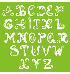 Hand drawn foliage alphabet vector image vector image