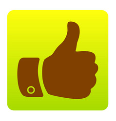 hand sign brown icon at vector image