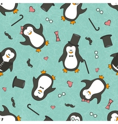 Seamless background with funny penguins vector image vector image