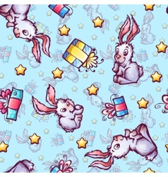 seamless pattern with cartoon rabbits and gift vector image vector image