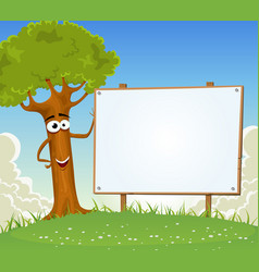 Spring tree holding blank billboard vector
