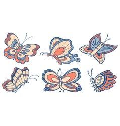 cute doodle butterfly characters vector image