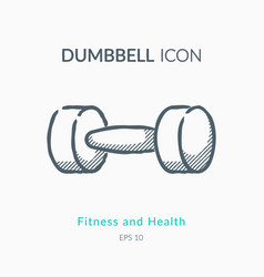 dumbbell icon on white background vector image vector image