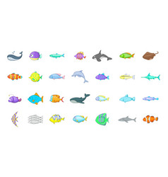 fish icon set cartoon style vector image vector image