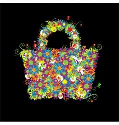 floral shopping bag summer vector image