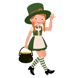 Girl dressed as Saint Patrick Day vector image vector image