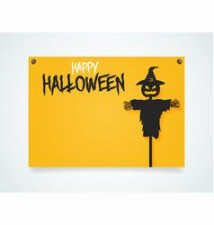 happy halloween poster halloween scarecrow under vector image