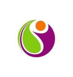 happy people vegetarian abstract logo vector image