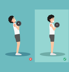 man wrong and right dumbbell curl posture vector image vector image