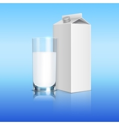 Milk pack and glass of beverage template vector image