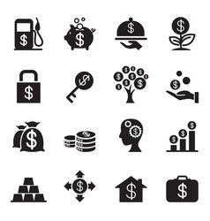 silhouette financial investment icons set vector image