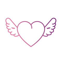 cute heart with wings vector image