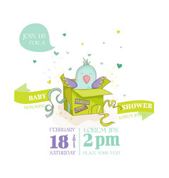 cute parrot in a gift box baby shower card vector image vector image
