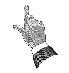 Hand with pointing finger in engraving style vector image vector image